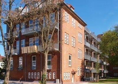 Die denkmalgeschützte Fassade verleiht dem Quartier Buntentor einen ganz individuellen Charme.
