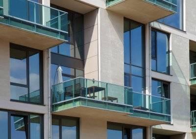Dank erhöhter Schallschutzanforderungen ist jede der 37 Wohnungen prädestiniert für ruhiges Wohnen im Grünen.