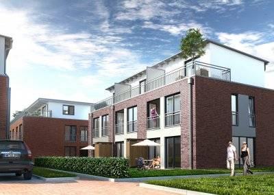 Sechs Mittelreihenhäuser sowie zehn Endreihenhäuser verteilen sich auf fünf eigenständige Gebäudeeinheiten.