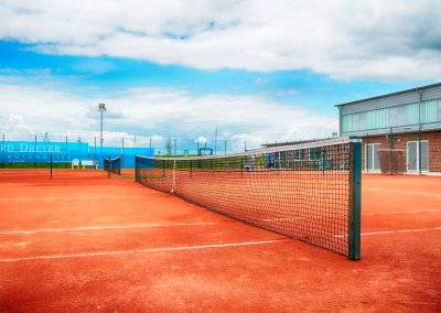 There are four tennis courts for existing competitions.